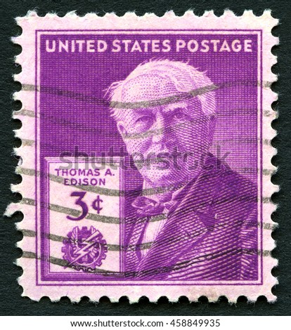 UNITED STATES OF AMERICA - CIRCA 1947: A used postage stamp from the USA depicting an illustration of famous inventor Thomas A. Edison, circa 1947. - stock photo
