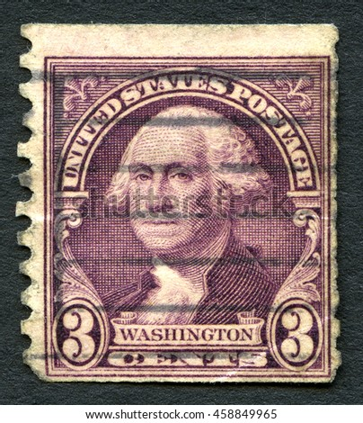 UNITED STATES OF AMERICA - CIRCA 1932: A used postage stamp from the USA depicting an illustration of Founding Father and first President of the United States George Washington, circa 1932. - stock photo