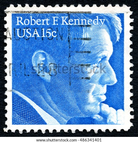 UNITED STATES OF AMERICA - CIRCA 1979: A used postage stamp from the USA, depicting an illustration of former Senator Robert F. Kennedy, circa 1979.