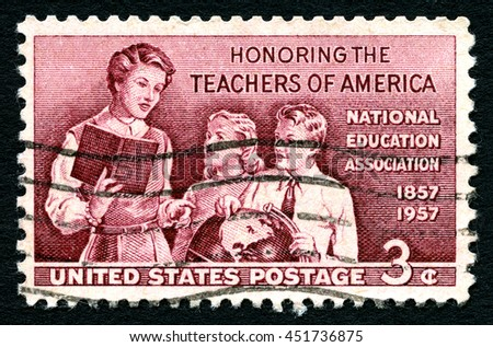 UNITED STATES OF AMERICA - CIRCA 1957: A used postage stamp from the USA, Honoring the Teachers of America, circa 1957. - stock photo