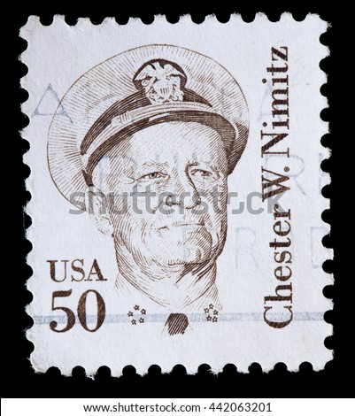 UNITED STATES OF AMERICA - CIRCA 1985: A used postage stamp printed in United States shows Admiral Chester William Nimitz, circa 1985 - stock photo