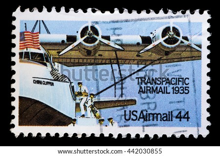 UNITED STATES OF AMERICA - CIRCA 1985: A used postage stamp printed in United States shows an aircraft used transpacifc flights, circa 1985 - stock photo