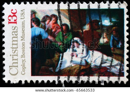 """UNITED STATES OF AMERICA - CIRCA 1976: Christmass stamp printed in the USA shows draw """"Madonna and Child"""" by John Copley from  Boston Museum, circa 1976 - stock photo"""