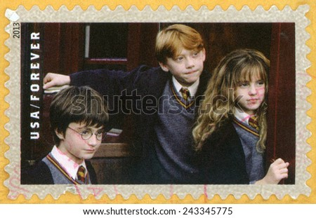 UNITED STATES OF AMERICA - CIRCA 2013: forever post stamp printed in USA shows Harry Potter, Ron Weasley, Hermione Granger; scenes from Harry Potter movies; Scott 4827; circa 2013 - stock photo