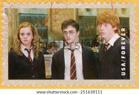 UNITED STATES OF AMERICA - CIRCA 2013: forever post stamp printed in USA shows Harry Potter, Ron Weasley, Hermione Granger; scenes from Harry Potter movies; Scott 4837; circa 2013 - stock photo
