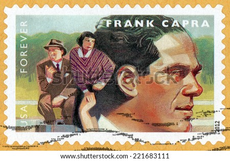 UNITED STATES OF AMERICA - CIRCA 2012: forever stamp printed in USA shows portrait of film director, producer, writer Frank Capra (1897-1991); movie scene It happened one night; Scott 4669; circa 2012 - stock photo