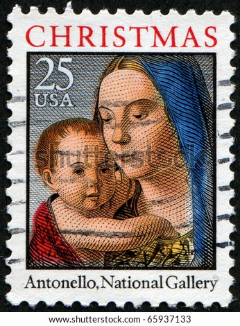 UNITED STATES OF AMERICA - CIRCA 1990-s: A stamp printed in the United States shows image of art by Antonello - Virgin and child, series, circa 1990-s