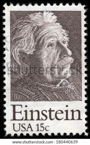 UNITED STATES OF AMERICA - CIRCA 1970s: A stamp printed in the USA shows a Portrait of Albert Einstein, Theoretical Physicist, circa 1970�s - stock photo