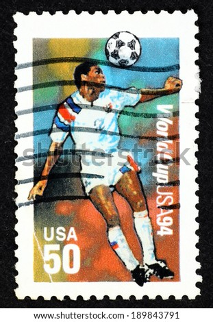 UNITED STATES OF AMERICA - CIRCA 1994: Stamp printed in United State of America with image of a soccer player to commemorate the 1994 Football World Cup in USA.