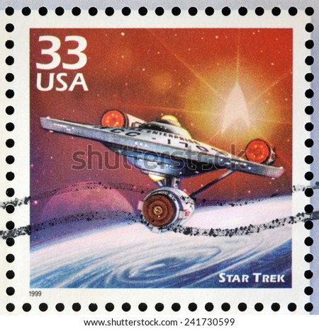 UNITED STATES OF AMERICA - CIRCA 1999: Stamp printed in USA dedicated to celebrate the century 1960s, shows star trek, circa 1999 - stock photo