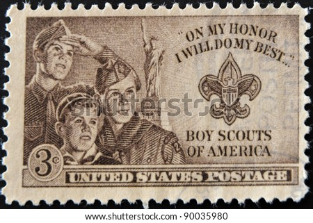 UNITED STATES OF AMERICA - CIRCA 1953 : stamp printed in USA show Boy Scouts of America, circa 1953 - stock photo