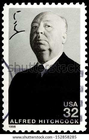 UNITED STATES OF AMERICA - CIRCA 1998 : stamp printed in USA show popular 1960s American writer Alfred Hitchcock, circa 1998 - stock photo
