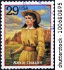 UNITED STATES OF AMERICA - CIRCA 1994: Stamp printed in USA shows Annie Oakley, American sharpshooter and exhibition shooter in old west , circa 1994 - stock photo