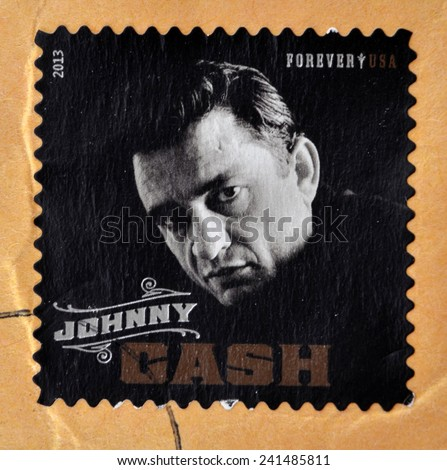 UNITED STATES OF AMERICA - CIRCA 2013: stamp printed in USA shows Johnny Cash; singer, rock & roll, blues, country, gospel; circa 2013  - stock photo