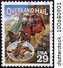 UNITED STATES OF AMERICA - CIRCA 1994: Stamp printed in USA shows Overland Mail in the American Old West, circa 1994 - stock photo