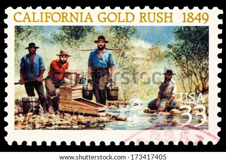 UNITED STATES OF AMERICA - CIRCA 2014: stamps printed in USA showing the California gold rush of 1849 USA 33c, circa 2014 - stock photo