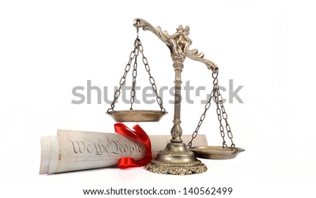 United States of America Constitution and Scales of Justice - stock photo