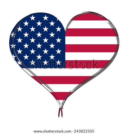 United States of America 3D heart shaped flag - stock photo
