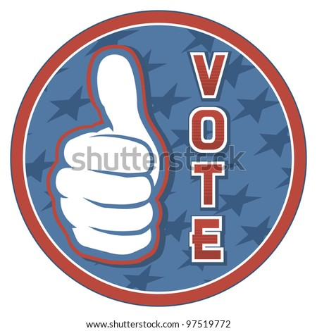 United States of America Elections pins (badge, design, hand showing thumbs up) - stock photo