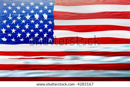 united states of america flag illustration, computer generated - stock photo