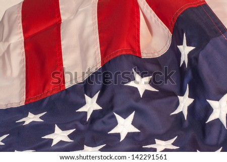 United states of America flag red white and blue folded