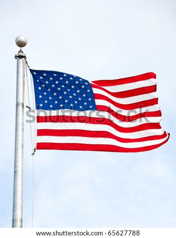 United States of America Flag Waving in the wind - stock photo