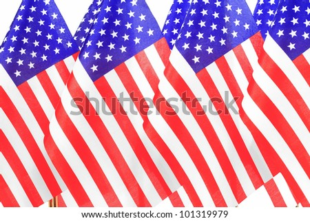 United States of America flags queuee,Isolated on the white background - stock photo