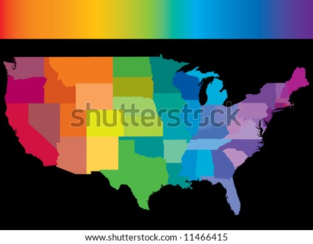 United States of America in colors of the rainbow with rainbow header