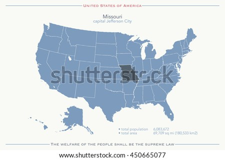 United States America Isolated Map Missouri Stock Illustration