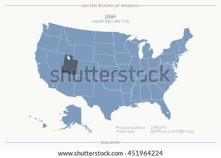 United States America Isolated Map Utah Stock Illustration - Us map utah