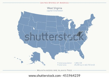 United States of America isolated map and West Virginia State territory. USA political map illustration. geographic banner template. travel business concept - stock photo
