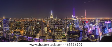 UNITED STATES OF AMERICA - JUNE 2016: Architectural buildings at lower Manhattan. Panoramic skyline at night in New York City - United States of America.
