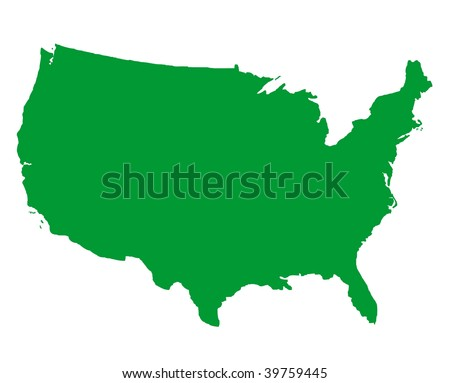 United States of America map isolated on white background. - stock photo