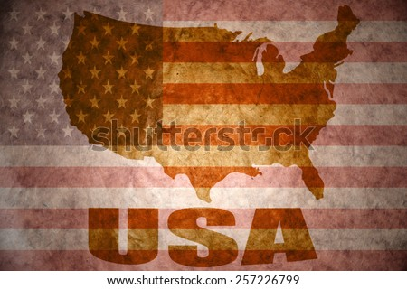united states of america map on a vintage american flag background - stock photo