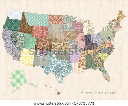 United States of America Map on linen canvas with whimsical quilt detail - stock photo