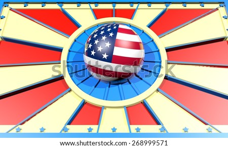 united states of america national flag on sphere in sun burst rays - stock photo