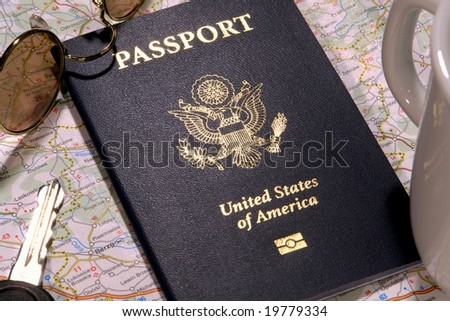 United States of America new electronic passport book in foreign travel concept setting - stock photo