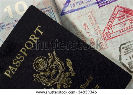 United States of America passport with entry stamps - stock photo