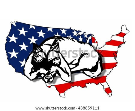 UNITED STATES OF AMERICA,  2016 Presidential Election Cartoon of a Dog Ashamed of our Nation