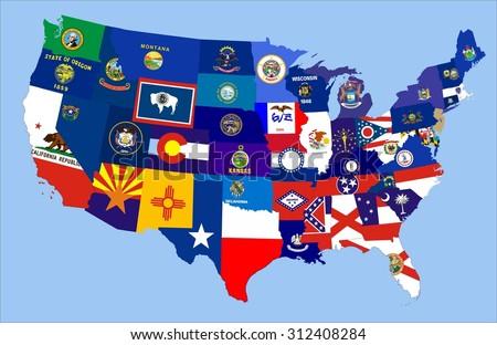 United States America Republic Flag Map Stock Illustration 312408284
