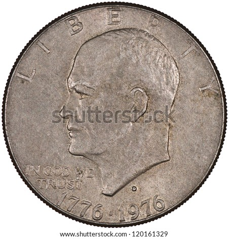 United States of America Silver Eisenhower Dollar Coin Obverse showing Dwight D. Eisenhower, 34th President of the United States Isolated - stock photo