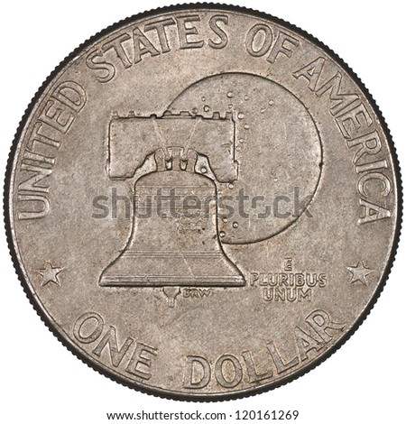 United States of America Silver Eisenhower Dollar Coin Obverse showing the Bicentennial design with the Liberty Bell in front of the moon Isolated - stock photo