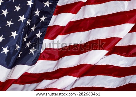 United States of America USA Flag Made In USA in the wind - stock photo