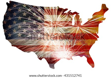 United States of America USA Flag Map Outline  with Fireworks Grunge Background For 4th of July - stock photo
