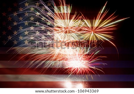 United States of America USA Flag with Fireworks Background For 4th of July - stock photo
