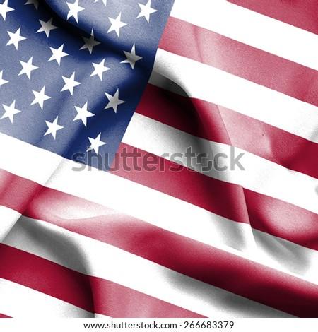 United States of America waving flag - stock photo