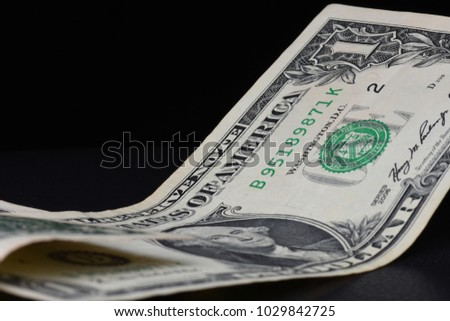 United States one dollar bill closeup macro, 1 USD