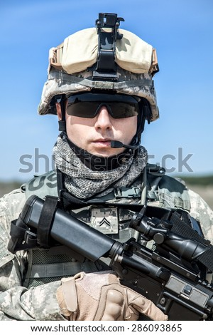United States paratrooper airborne infantry in uniform  - stock photo