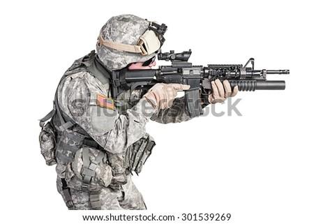 United States paratrooper airborne infantry studio shot on white background - stock photo