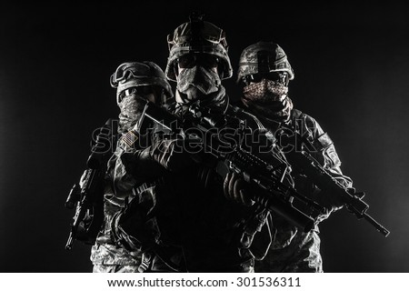 United States paratroopers airborne infantry in the smoke - stock photo